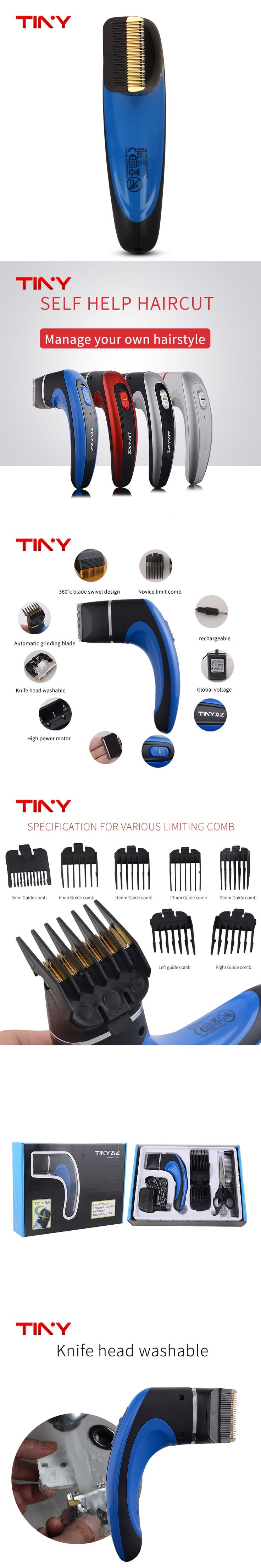 TINY Self Cut Professional Barber Rechargeable Electric Hair trimmer  Clipper Men hair cut machine Razor trimmer Beard  Shaver