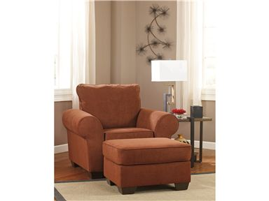 deandre terra cotta fabrics chair and ottoman set