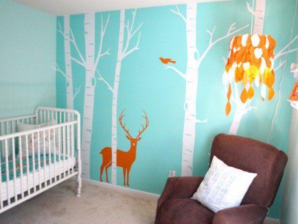 decoration murale chambre bebe cerf dans la foret pour bebe garcon