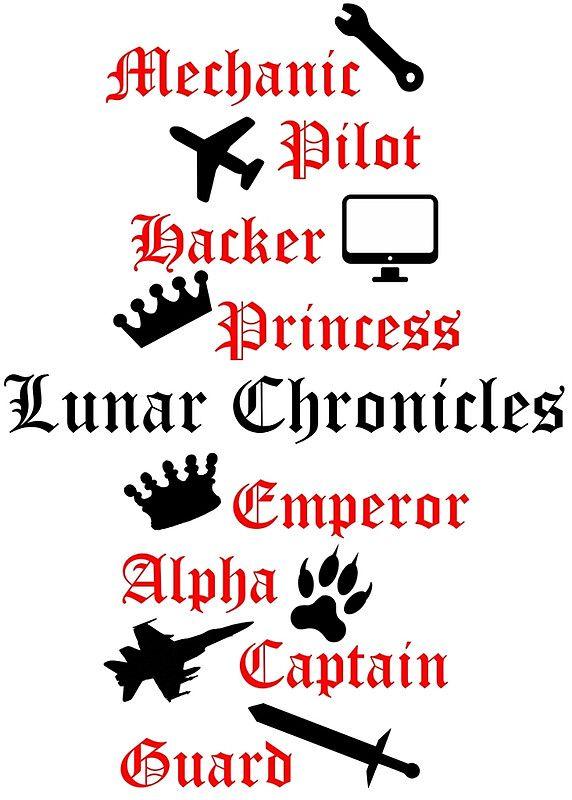 Los apodos de los personajes de los lunares Crónicas de Marissa Meyer • Buy this artwork on apparel, stickers, phone cases y more.