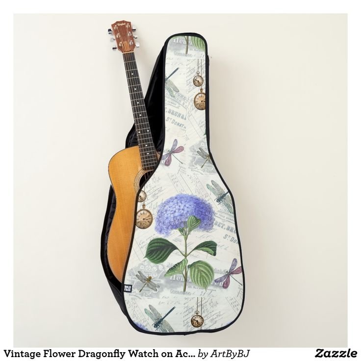 Vintage Flower Dragonfly Watch on Acoustic Guitar Case  - A Wonderful Christmas Present or Birthday Gift for ANY Guitar Player - order it as an Electric Guitar Case or an Acoustic Guitar Case. . . .   2 pockets, Handle and Back-Pack Style Straps as well, . . .   AND SWAP-ABLE  Front Designs. -  Visit to see all the details and LOTS MORE!