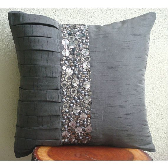 Simple Treasures - Throw Pillow Covers - 16x16 Inches Silk Pillow Cover with Metal Embroidery