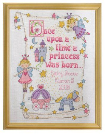 Amazon.com: Bucilla Princess Birth Record 10-Inch-by-13-Inch Counted Cross Stitch Kit, 14-Count: Arts, Crafts & Sewing