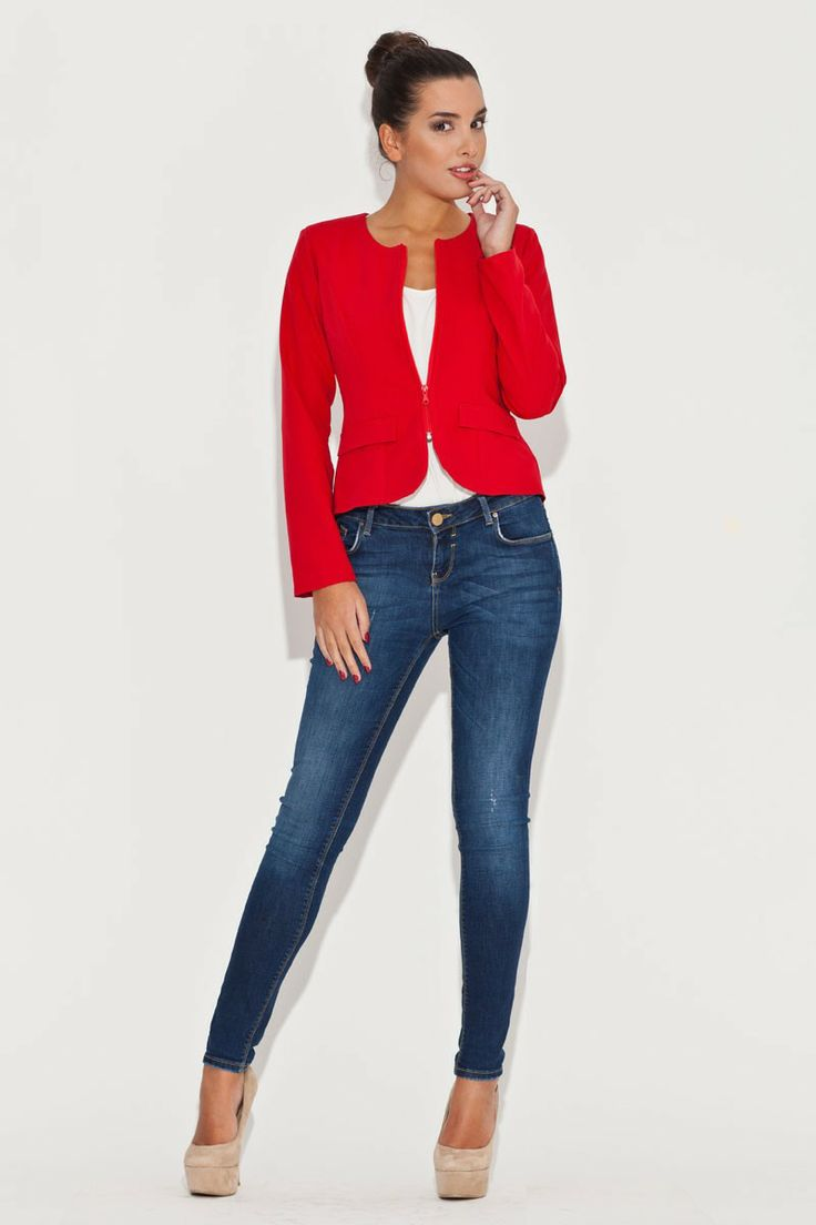 Veste casual, rouge, manches longs - Mademoiselle Grenade -: Mademoisel Grenades, The Novelty, Red Jackets, K054 11200, Casual Rouge, Rosu K054, Vest Rouge, Vest Casual, Jackets K054