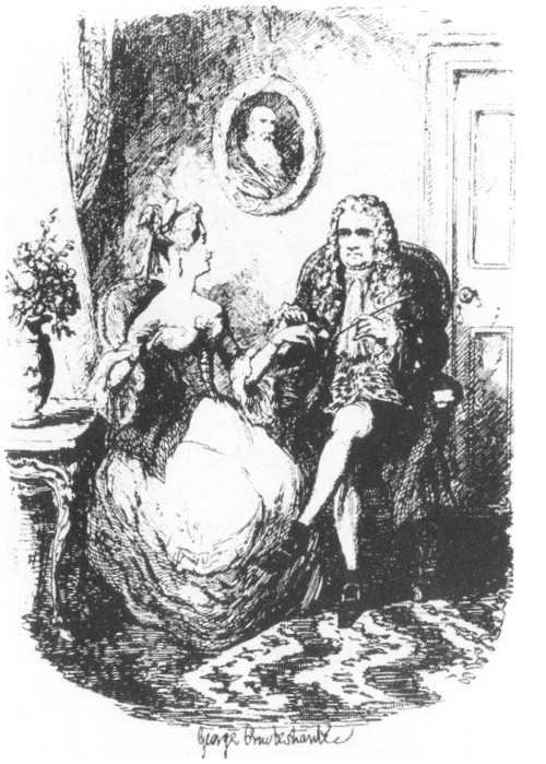 'Sir Isaac Newton's courtship' (distractedly uses the lady's finger to stop his pipe), George Cruikshank, 1838
