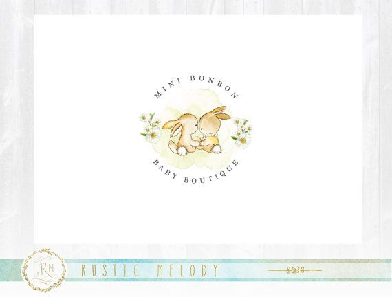 Bunny diseño de logotipo Logo de Boutique por RusticMelody1 en Etsy
