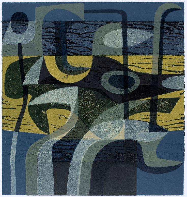 'Black Form' (1960s-70s) by artist & printmaker Peter Green (b.1933). Woodcut & stencil print, edition of 8, 345 x 330 mm. via St Jude's Prints