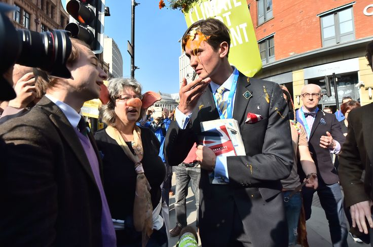 Anti-austerity protests during Tory party conference (from The Guardian)  Silly boy.