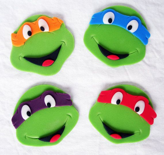 Set of 12 Teenage Mutant Ninja Turtle TMNT Fondant Edible Cupcake Toppers on Etsy, $25.00