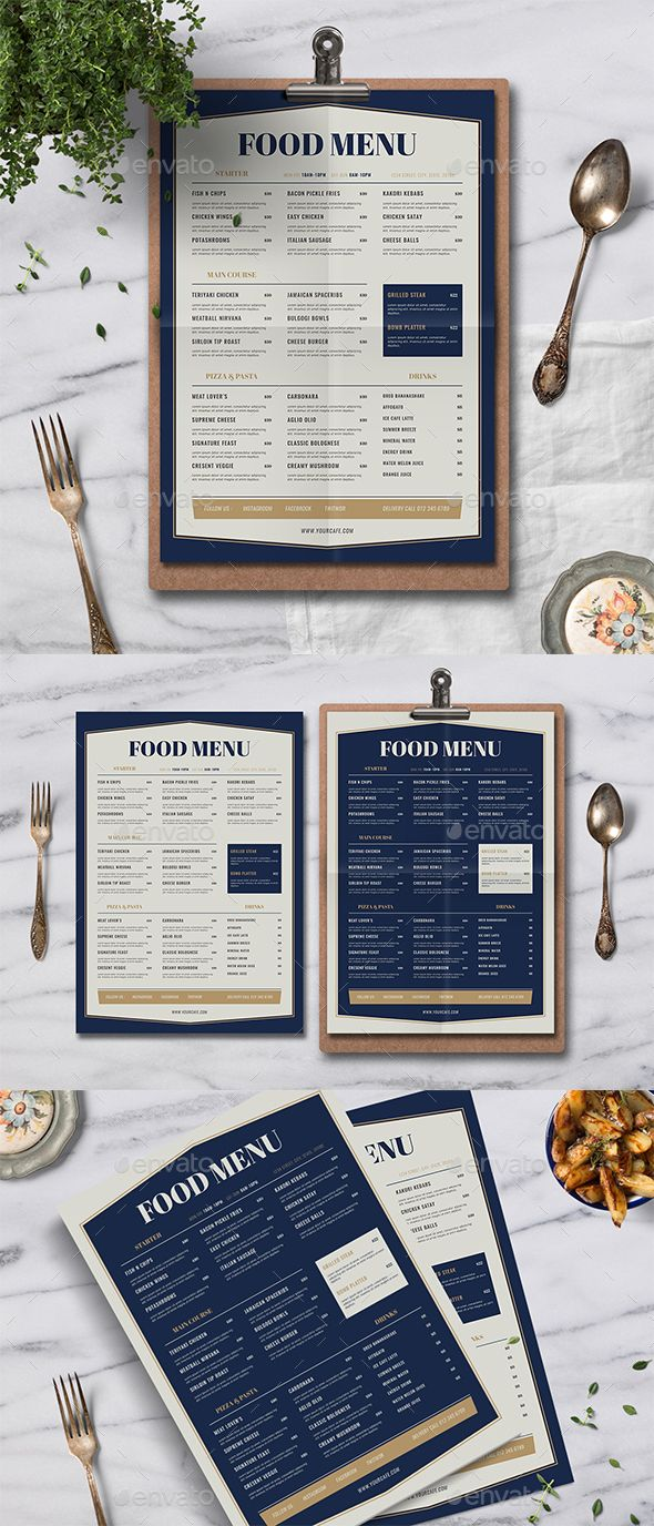 Food Menus Print Templates