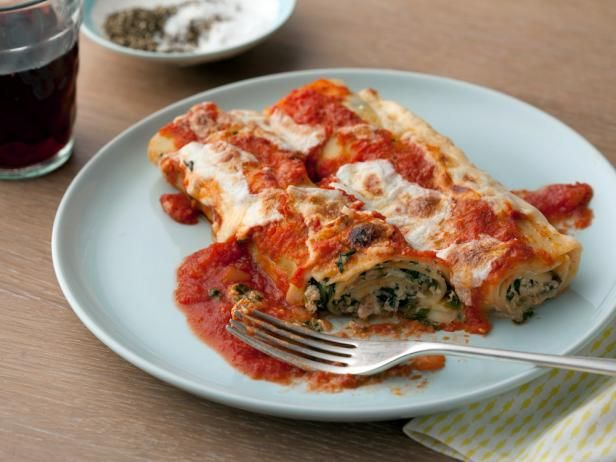 filled with a mixture of ricotta cheese spinach and prosciutto topped ...