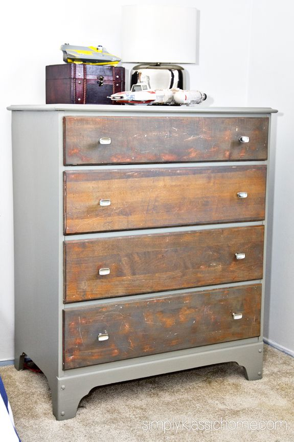 Boy's Industrial/Star Wars Bedroom - really loving this two-tone dresser
