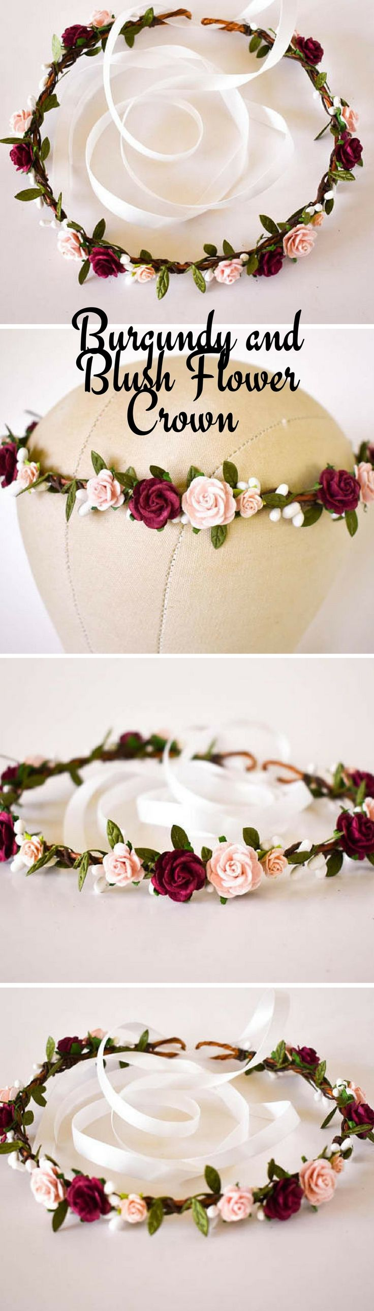 Burgundy and Blush Flower Crown for Wedding #wedding #weddingideas #ad