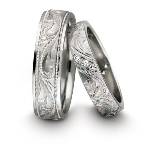 Male & Female White Gold + Diamonds Patterned Wedding Rings