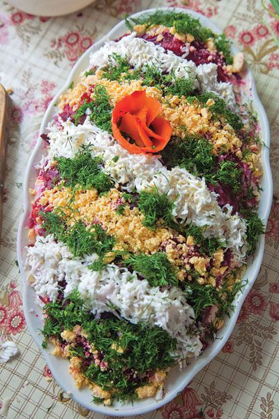 Selyodka Pod Shuboy (Layered Herring Salad)  Recipe - Saveur.com  if it ain't got dill, it's not Latvian :)