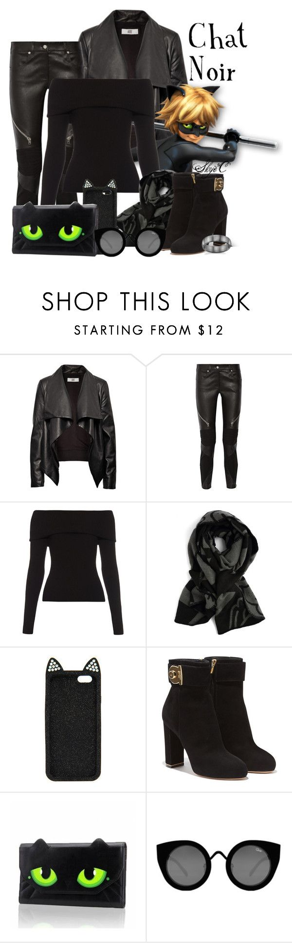 """Chat Noir (Cat Noir) - Miraculous Ladybug"" by rubytyra ❤ liked on Polyvore featuring HIDE, Givenchy, A.L.C., Salvatore Ferragamo, Quay, women's clothing, women, female, woman and misses"