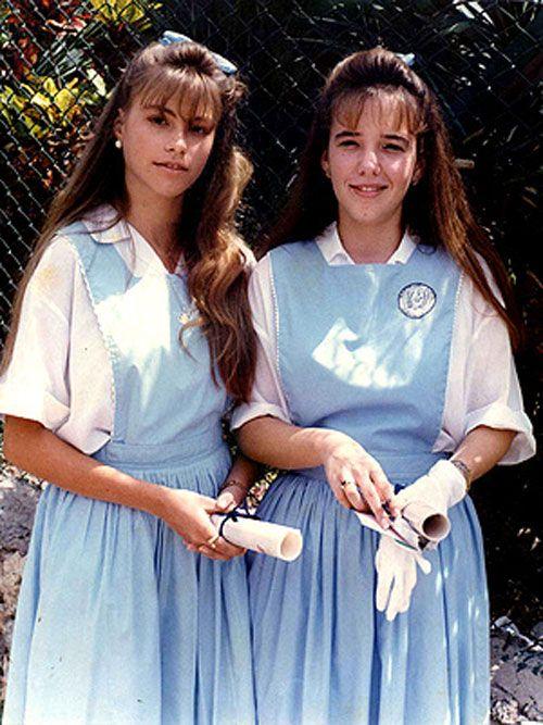 Sofia Vergara in high-school (it looks like she's holding her diploma) ...