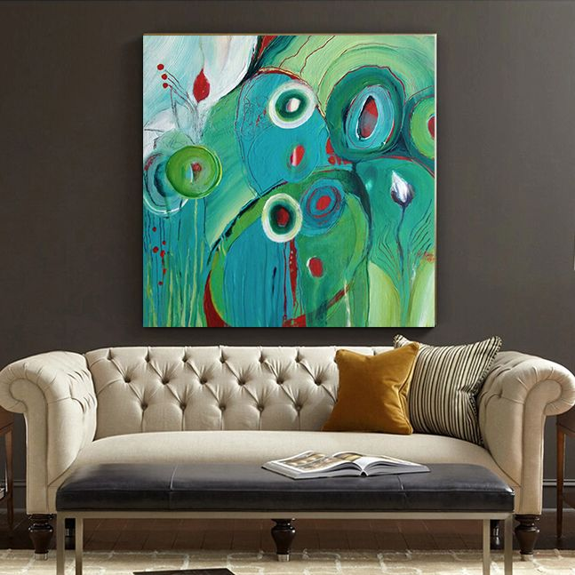 ... Modern Abstract Floral Hand Painted Oil Painting Original Green  Circular Living Room Bedroom Home Decor Office Art,High Quality Decorative  Adhesive Wall ...