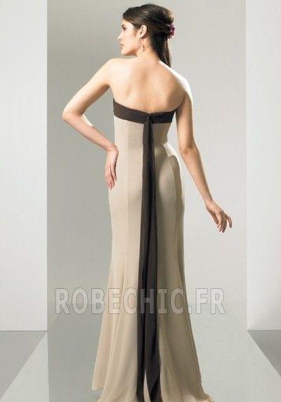 Robe Demoiselle d'Honneur Sans bretelles Simple moka Sirène Train de balayage