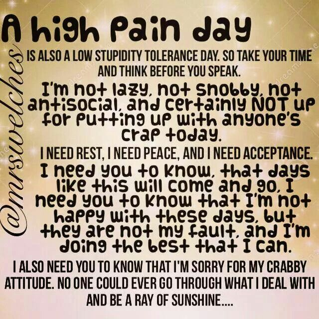 Being in pain makes anyone crabby, especially those of us with chronic pain, hence the low stupidity tolerance level as well.Jen Ashley