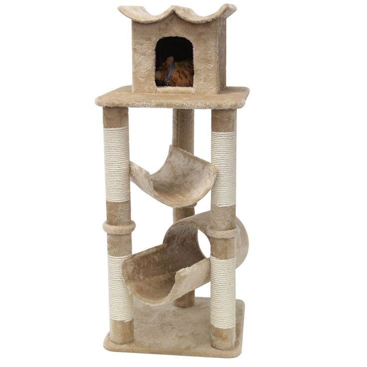 47' Casita Fur Cat Tree in Tan - Premium Cat Tree for Large Cats and Kittens, Cat Furniture Bundles with Scratching Post and Cat Condo, Cheap Cat Trees and Condos -- Unbelievable cat item right here! : Cat Tree