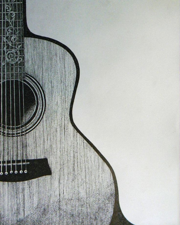 Pen and Ink guitar drawing. Reminds me, bring in the instruments