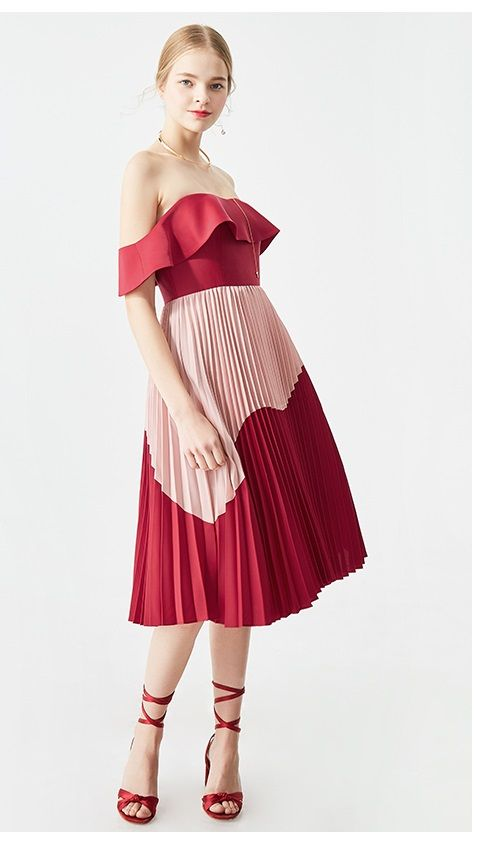 46147d4ccb Color block one-shoulder dress Midi high waist stitching pleated color  block cocktail summer off shoulder dress - Ji in 2019
