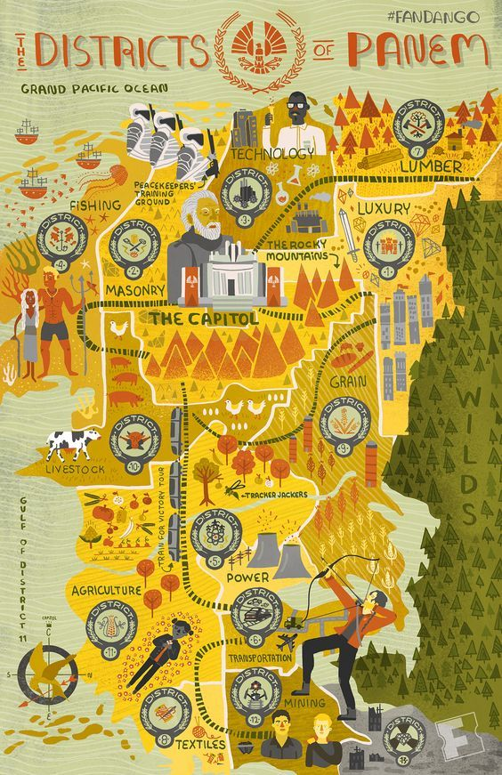 The Hunger Games' - Districts of Panem Map | Fandango - Rachel Ignotofsky - not big on maps of fictional places but really like the design!: