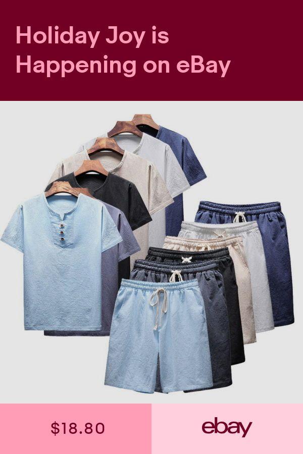 2pcs//set Mens Fashion Suit Linen Cotton Crew Neck Casual Shirts+Short Pants KUS