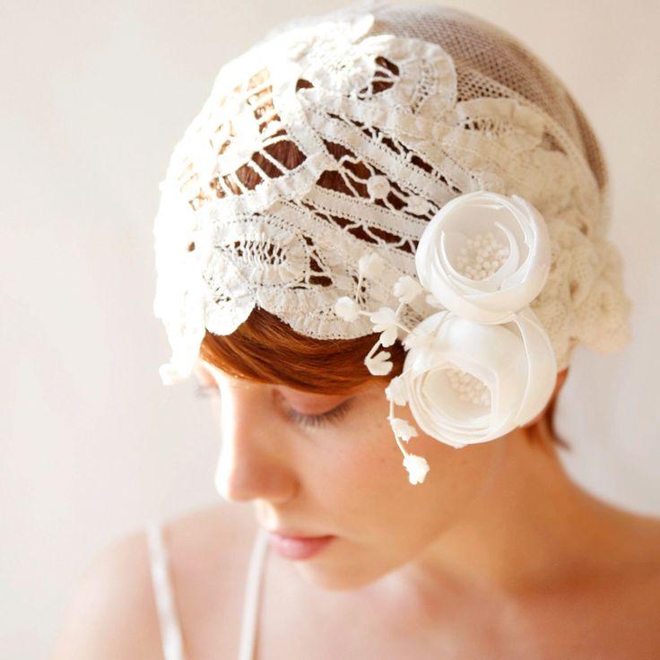 bridal hair cap headpiece weddings vintage inspired 1920s. $100.00, via Etsy.