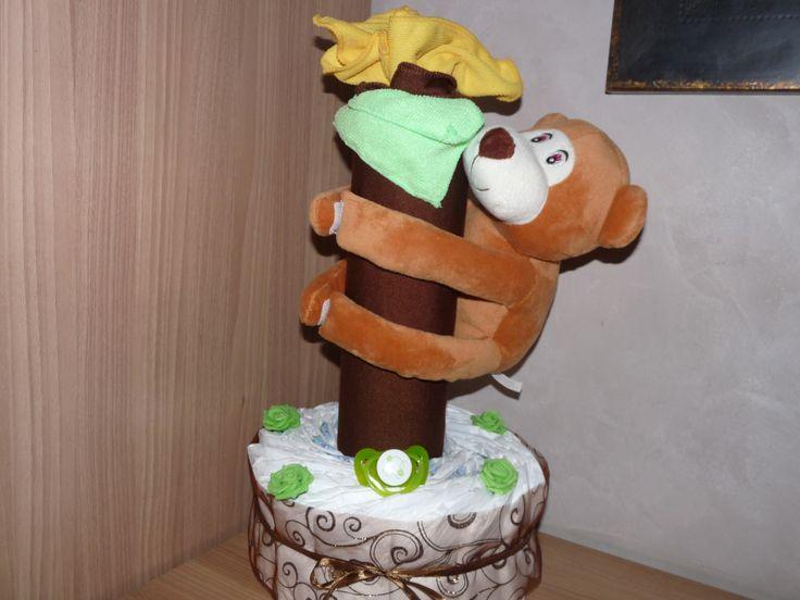 Gâteau de couches bébé petit singe. : Décoration pour enfants par creationlizalou