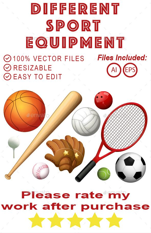 Different Sport Equipment by Paljas Different types of sport equipments illustration