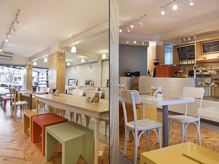 Padarie Café by CRIO Arquiteturas, Porto Alegre   Brazil cafe    -    I love the colors of the all the furnishings to provide that pastel POP in the space
