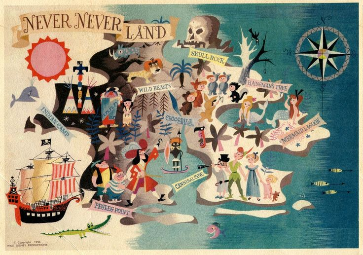Disney's Peter Pan Neverland map from 1956