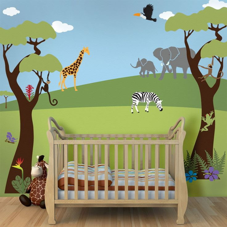 Tree mural jungle wall stencils for baby nursery wall for Baby nursery tree mural