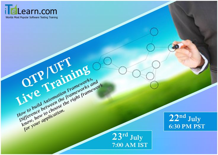 QTP/UFT #LiveTraining  ----------------------------------- Visit:http://www.itelearn.com/events/qtpuft-live/  QTP/UFT Live training is the best testing devices to learn basic and advanced concept of QTP/UFT like #VBScripting, Descriptive programming. It's a live training project helps you to know how to build #AutomationFrameworks and how to choose the right framework for your application with numerous opportunities.