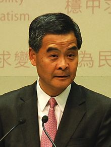 Leung Chun-ying GBM, GBS, JP (born 12 August 1954), commonly known as C. Y. Leung, is the third and incumbent Chief Executive of the Executive Council of the Hong Kong Special Administrative Region, assuming office on 1 July 2012. A politician of the pro-establishment bloc, Leung has held various political offices including Convenor of the Executive Council and Member of the Provisional Legislative Council before his victory in the 2012 Hong Kong Chief Executive Election, ...