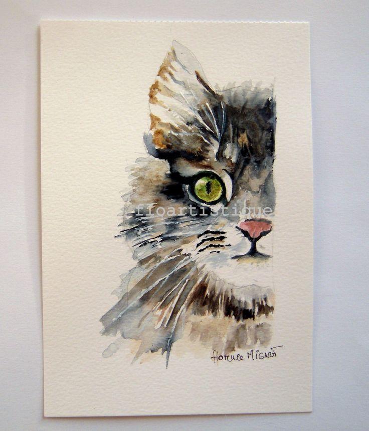Aquarelle tête de chat