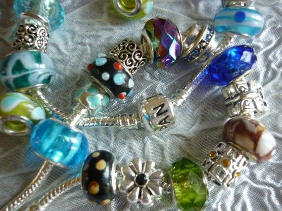 SALE Grab BAG Pandora Style Beads 10 Beads by GreenBohemia on Etsy, $14.00.  Just bought these!!