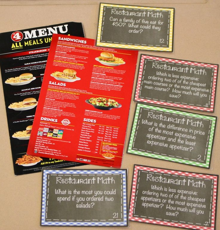 restaurant math- teach students real life addition, subtraction, multiplication, and division with restaurant menus