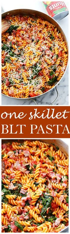 One Skillet BLT Pasta - Quick and easy 30-minute, one skillet pasta recipe with spinach, tomatoes and bacon!