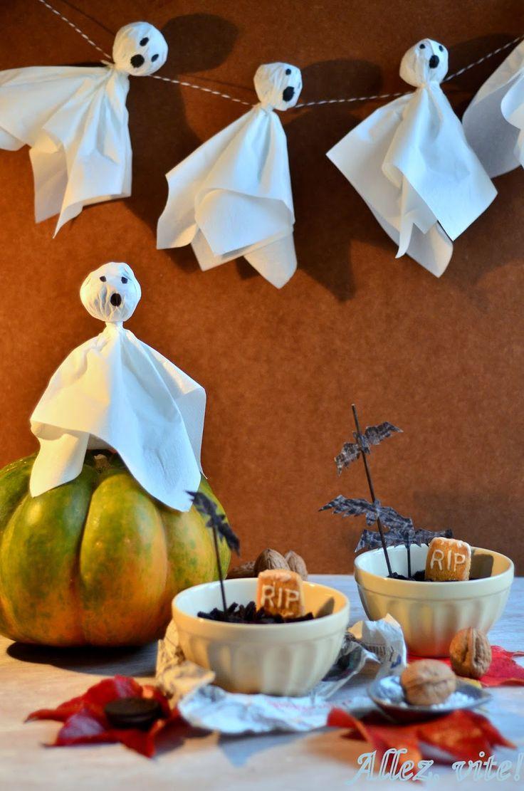 Allez, vite!: Schnelle Halloweendeko und Rezept für Halloween, Halloweenidee Deko Geister