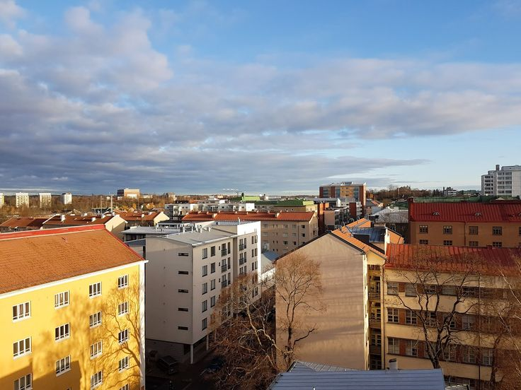 Turku skyline and a tree casting its shadow on a building. Photo by Nana Långstedt