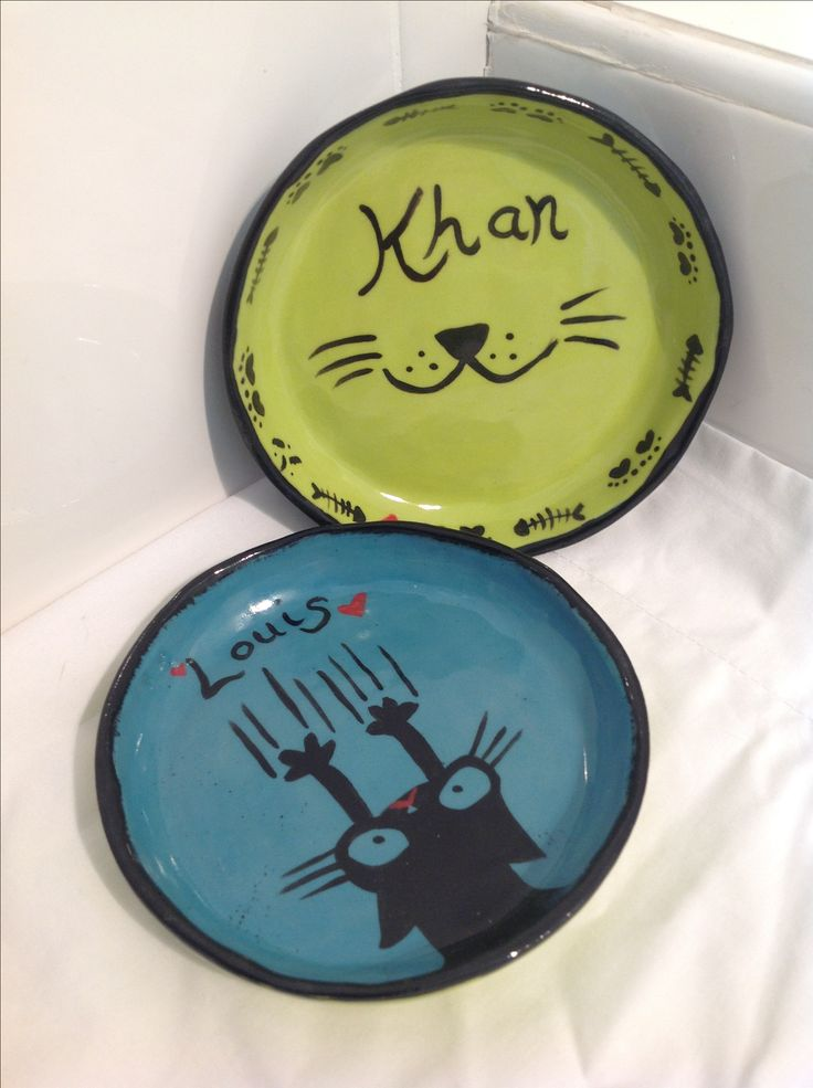 Handmade plates for our fur babies.  Made by me