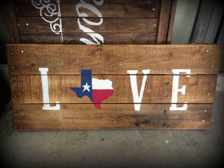 Texas Flag Love Pallet Sign- Texas rustic home decor, Pallet Decor, pallet signs handpainted