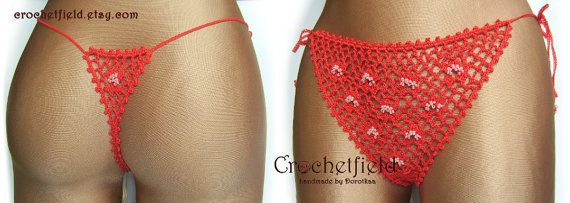 Sexy coral crochet thong with beads g-string lace by Crochetfield