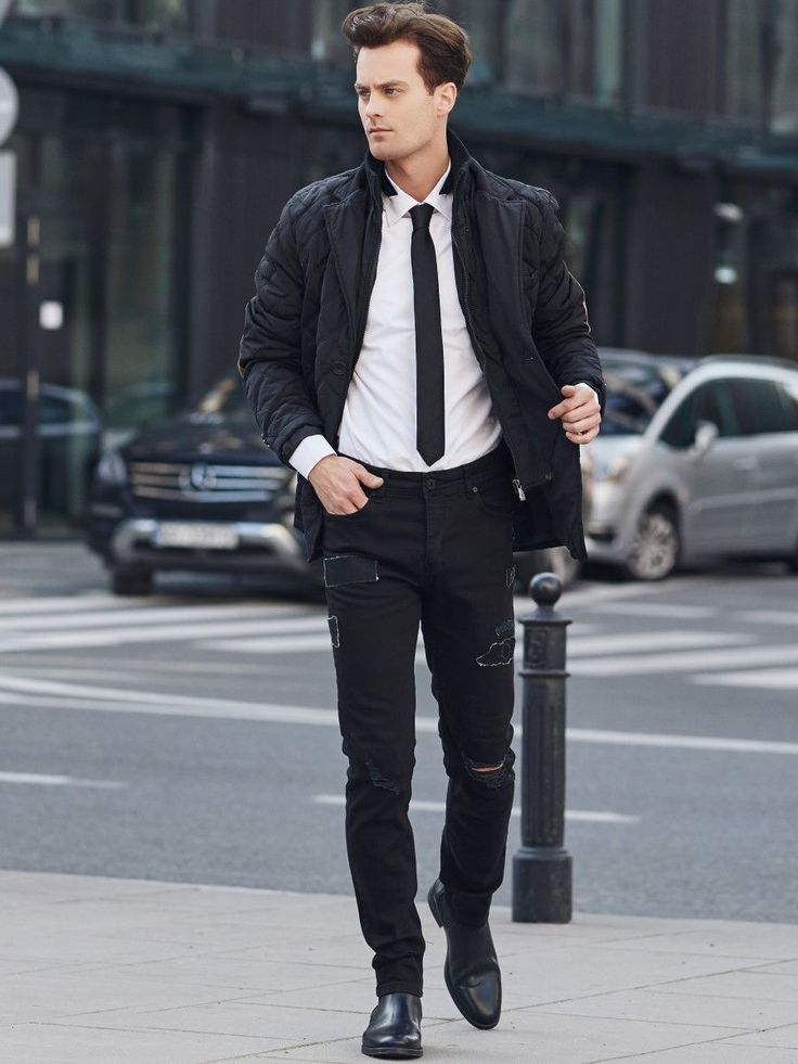 Unique styling from the Bolf collection. In this set we have a duet of white nd black and timeless elegance. The white shirt with a tie looks very stylish as the jeans with interesting stitchings add more casual accent, instead of a blazer, throw on an elegant jacket.