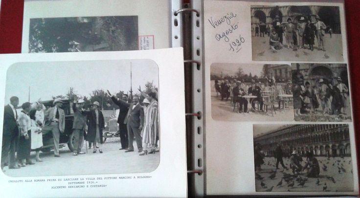 44 ALBUM FOTO di Beniamino Gigli 1914 - 1957 Gigli con la moglie davanti alla villa del pittore Mancini a Bologna. Gigli in gita a Venezia 1926