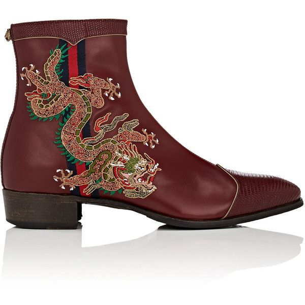 Gucci Men's Embroidered Leather Side-Zip Boots ($2,100) ❤ liked on Polyvore featuring men's fashion, men's shoes, men's boots, shoes, men, dark red, mens boots, mens equestrian boots, mens shoes and mens cap toe shoes