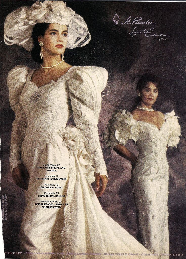"""1991.  Typical example of the excesses--especially in bridal wear--left over from the 1980's.  These would be so nice if proportions were scaled down to """"human"""" size."""